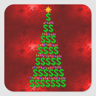 Christmas Money Tree Square Stickers