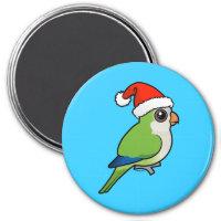 Monk Parakeet Christmas Round Magnet