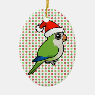 Christmas Monk Parakeet Double-Sided Oval Ceramic Christmas Ornament