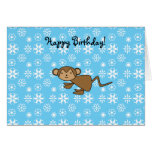 Christmas monkey blue snowflakes greeting card