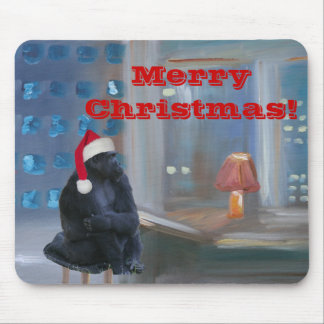 """Christmas Monkey"" Mouse Pad"