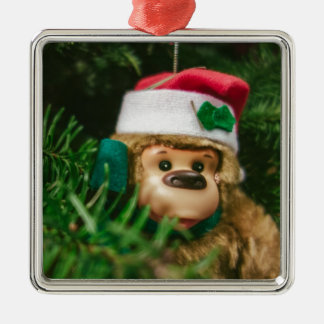 Christmas Monkey Photography Art Metal Ornament
