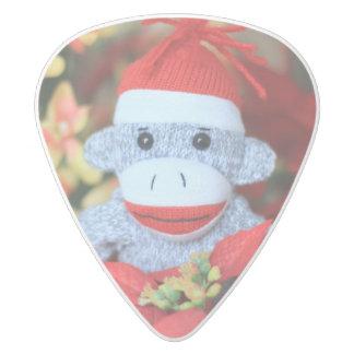 Christmas Monkey White Delrin Guitar Pick
