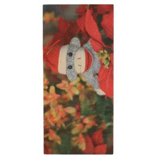 Christmas Monkey Wood USB Flash Drive