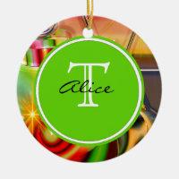 Christmas Monogram Ceramic Ornament
