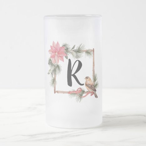 Christmas Monogram Frame with Birds and Poinsettia Frosted Glass Beer Mug