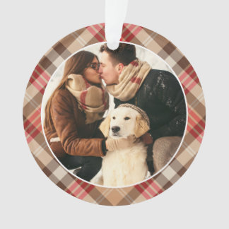 Christmas Monogram | Plaid Holiday Photo Ornament