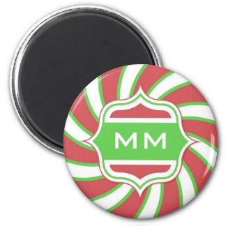 Christmas Monogram Retro Spiral Green Red 2 Inch Round Magnet