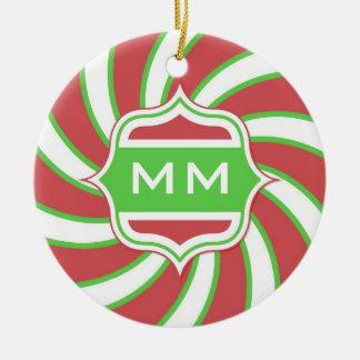 Christmas Monogram Retro Spiral Green Red Ceramic Ornament