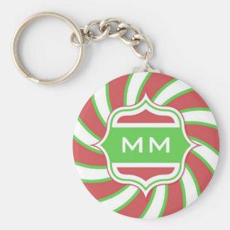 Christmas Monogram Retro Spiral Green Red Keychain