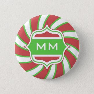Christmas Monogram Retro Spiral Green Red Pinback Button