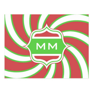 Christmas Monogram Retro Spiral Green Red Postcard