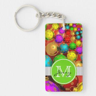 Christmas Monogrammed Acrylic Key Chains