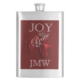 Christmas monogrammed joy peace hip flasks
