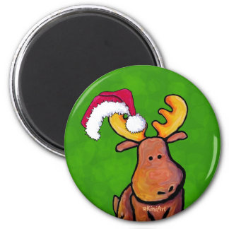 Christmas Moose 2 Inch Round Magnet