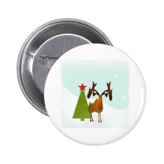 Christmas Moose 2 Inch Round Button