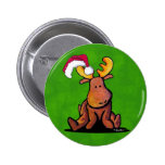 Christmas Moose Button