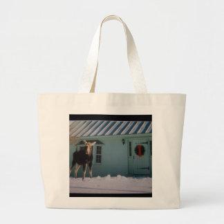 CHRISTMAS MOOSE CANVAS BAG