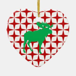 Christmas Moose Ceramic Ornament