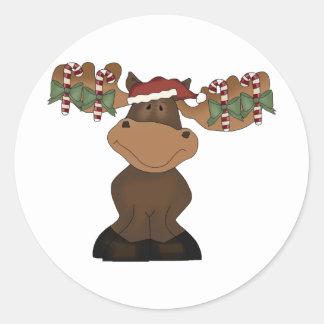 Christmas Moose Classic Round Sticker