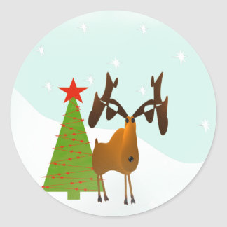 Christmas Moose Classic Round Sticker