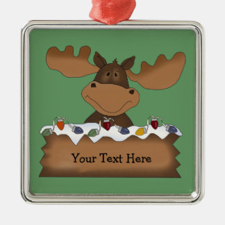Christmas Moose (customizable) Metal Ornament