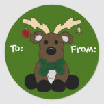 Christmas Moose Gift Tag Round Stickers