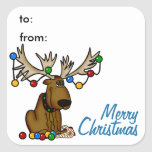 Christmas Moose Gift Tag Sticker Square Sticker