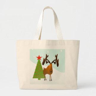 Christmas Moose Large Tote Bag