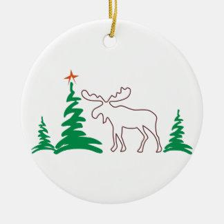 Christmas Moose Outline Ceramic Ornament