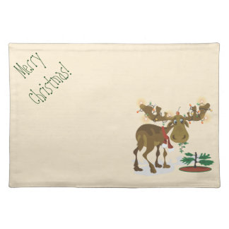 Christmas Moose placemat Cloth Placemat