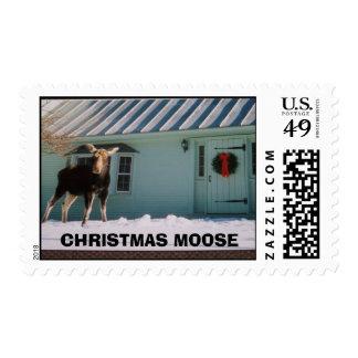 CHRISTMAS MOOSE POSTAGE STAMP