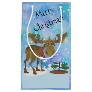Funny moose gift bags zazzle christmas moose small gift bag m4hsunfo