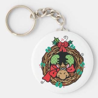 christmas moose wreath design basic round button keychain