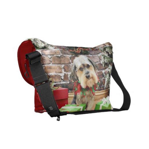 Christmas - Morkie - Cooper Messenger Bags