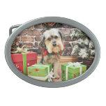 Christmas - Morkie - Cooper Oval Belt Buckles
