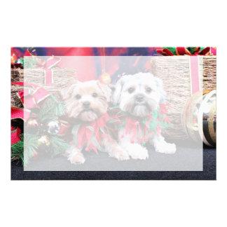 Christmas - Morkie - Jackie and Tabby Customized Stationery