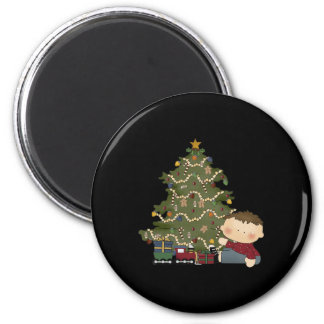 christmas morning boy  tot 1 2 inch round magnet