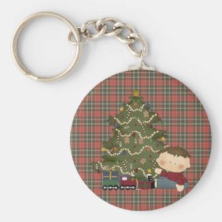 christmas morning boy  tot 1 basic round button keychain