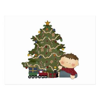 christmas morning boy  tot 1 postcard