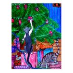 Christmas Morning Cats Post Card