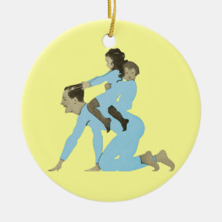 Christmas Morning Father Children Playing Vintage Ceramic Ornament