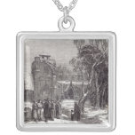 Christmas morning: Going to Church Square Pendant Necklace