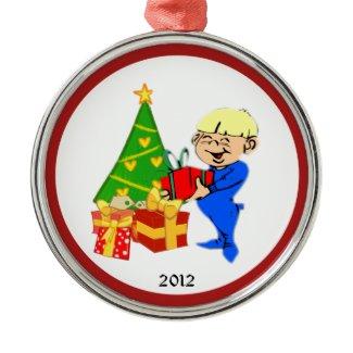 Christmas Morning Kid Personal Ornaments