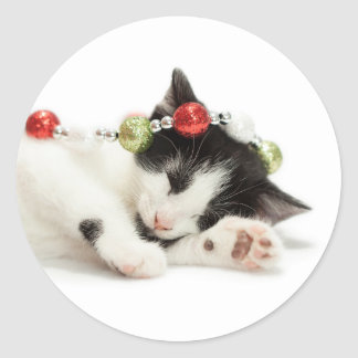 Christmas Morning Kitten Classic Round Sticker