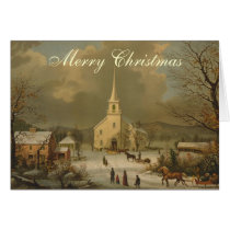 Christmas Morning off to Church Vintage Card