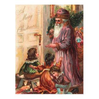 Christmas Morning Santa Postcard