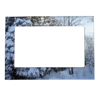 Christmas Morning-Snow Covered Pines Magnetic Frame