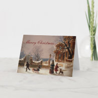 Christmas Morning Snow Vintage Card