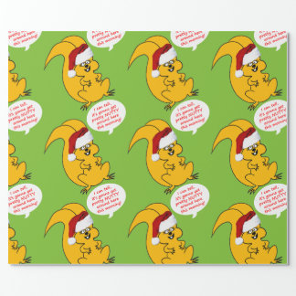 Christmas Morning Squirrel Cartoon Wrapping Paper